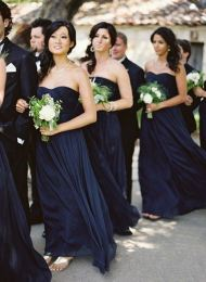 Bridesmaids in midnight blue {via modwedding.com}