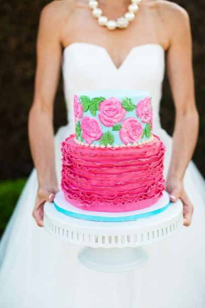 Pink and aqua wedding cake inspiration {via www.magnoliaphotography.com}