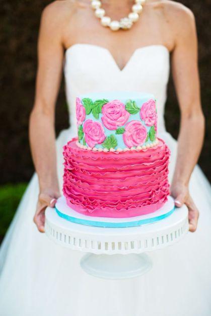 Pink and aqua wedding cake inspiration {via www.magnoliaphotography.com}