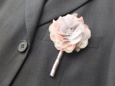 Chiffon flower boutonniere - www.etsy.com/shop/LoveMimosaFleur