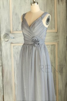 Grey bridesmaid dress - www.etsy.com/shop/RenzRags