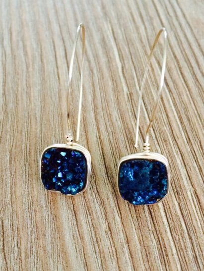 Midnight blue druzy earrings - www.etsy.com/shop/HookedonHarry