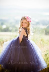 Midnight blue flower girl dress - www.etsy.com/shop/littledreamersinc
