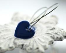 Midnight blue heart earrings - www.etsy.com/shop/WildWomanJewelry