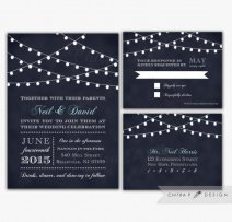 Midnight blue wedding invitation - www.etsy.com/shop/chitrap