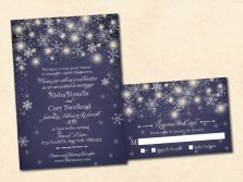 Midnight blue winter wedding invitation - www.etsy.com/shop/VintageBellsAndCo