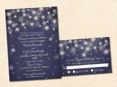 Midnight blue winter wedding invitation - www.etsy.com/shop/VintageBellsAndCo