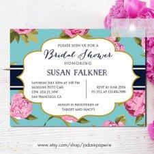 Pink and aqua bridal shower invitation - www.etsy.com/shop/JadorePaperie