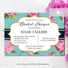 Pink and aqua bridal shower invitation - www.etsy.com/shop/JadorePaperie