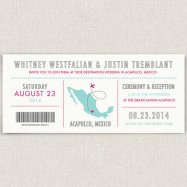 Pink and aqua destination wedding invitation - www.etsy.com/shop/papertalkpress