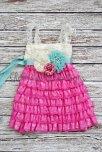 Pink and aqua flower girl dress - www.etsy.com/shop/GlamGirlyBoutique