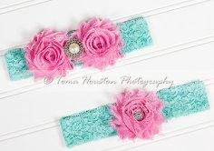 Pink and aqua garters - www.etsy.com/shop/Tomastutusandthings