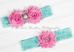 Pink and aqua garters - www.etsy.com/shop/Tomastutusandthings