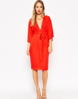 ASOS 70s Deep Plunge Belted Midi Dress, from asos.com
