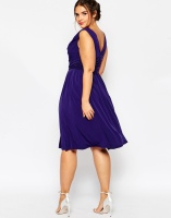 ASOS CURVE WEDDING Drape Cowl Neck Pleated Midi Dress, from asos.com