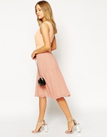 ASOS PETITE Sheer & Solid Pleated Midi Dress, from asos.com