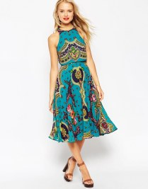 ASOS Sheer and Solid Crop Top Skater Dress In Paisley Print, from asos.com