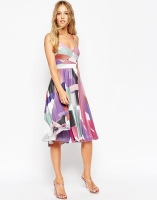ASOS Sheer and Solid Pleated Midi Cami Skater Dress In Geo Print, from asos.com