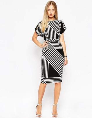 ASOS Soft Open Back Pencil Dress in Chevron Stripe, from asos.com