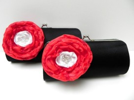 Black, white and red bridesmaid clutch purses - www.etsy.com/shop/FallenSparrow