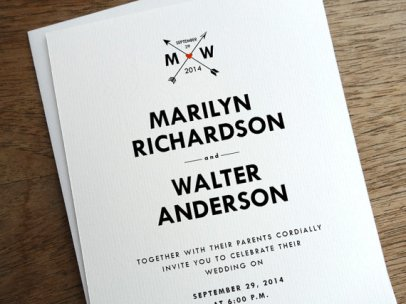 Black, white and red downloadable wedding invitation - www.etsy.com/shop/empapers