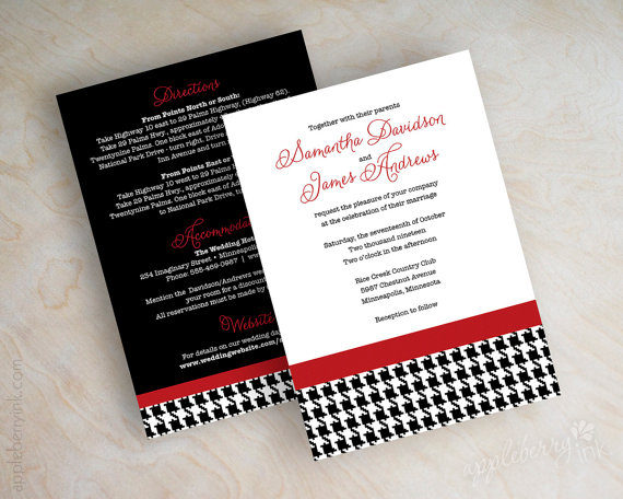 White And Red Wedding Invitations: Black, White And Red Houndstooth Wedding Invitation