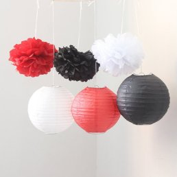 Black, white and red tissue-paper pompoms and paper lanterns - www.etsy.com/shop/partypapersupply