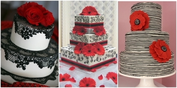 Black, white and red wedding cake ideas {via taline.ru}
