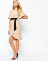 Closet Kimono Sleeve Midi Dress With Contrast Belt, from asos.com