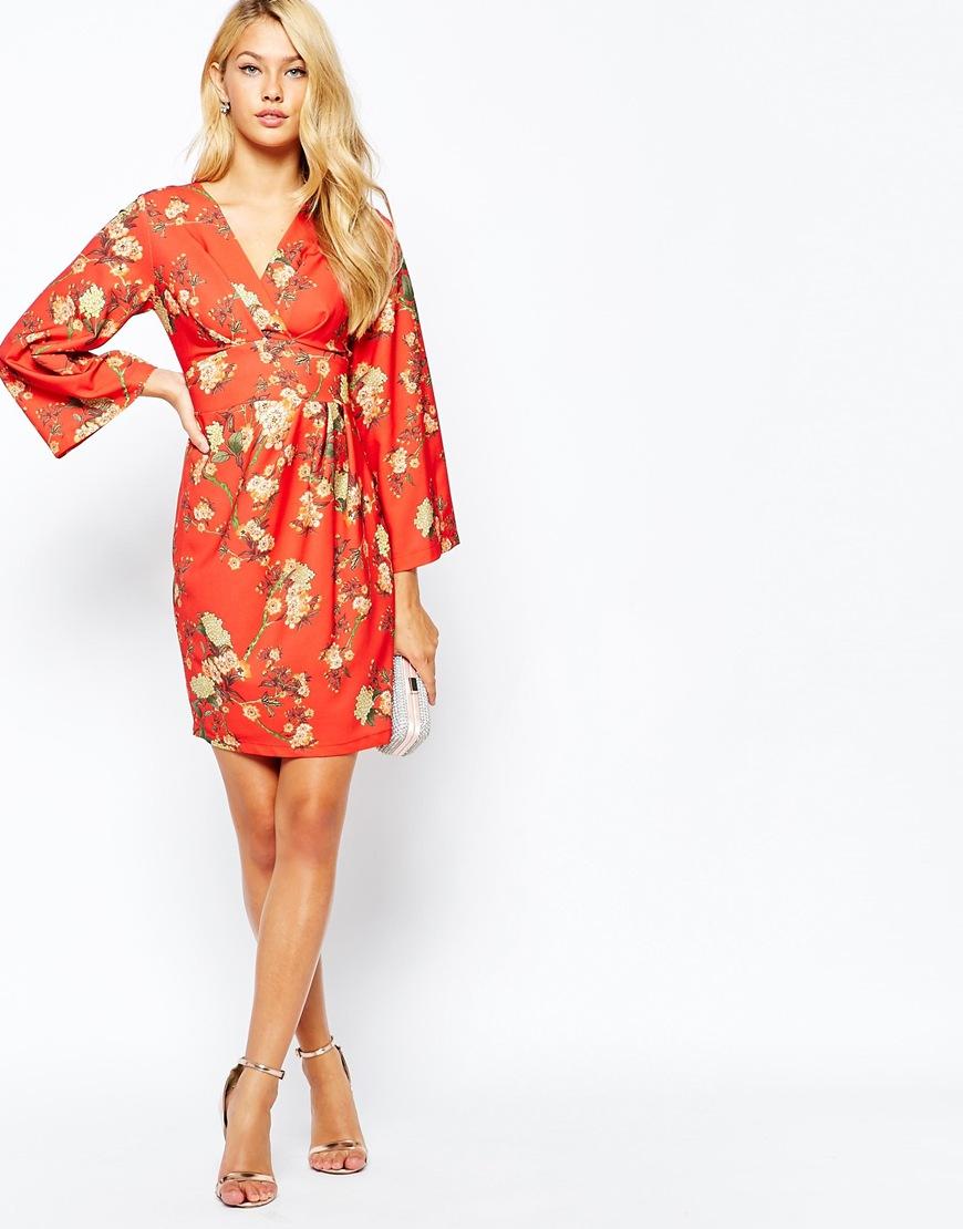 Closet Longer Kimono Sleeve Wrap Front Midi Dress, from asos.com | The Merry Bride