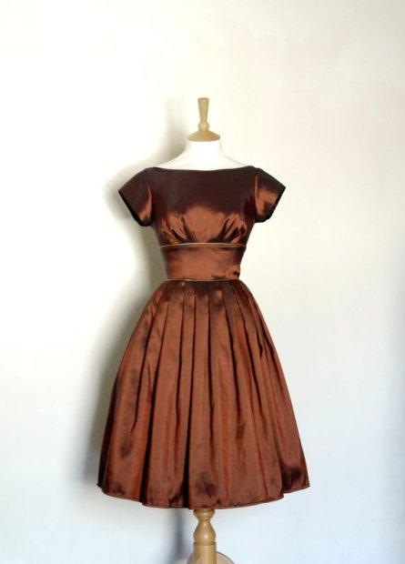 Copper bridesmaid dress - www.etsy.com/shop/digforvictory