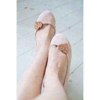 Copper glitter heart shoe clips - www.etsy.com/shop/PollyMcGeary