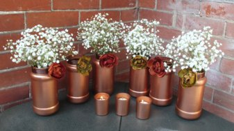 Copper vases and candle-holders - www.etsy.com/shop/CarolesWeddingWhimsy
