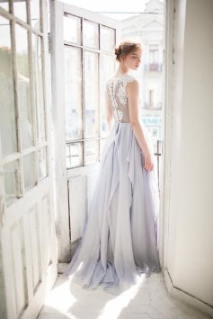 Light grey wedding dress - www.etsy.com/shop/CarouselFashion