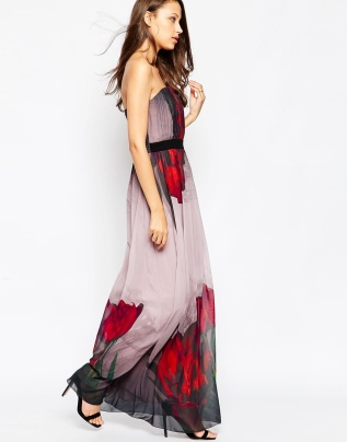 Little Mistress Tall Strapless Tulip Print Maxi Dress, from asos.com