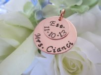 Personalised copper bouquet charm - www.etsy.com/shop/EllenBKeepsakes