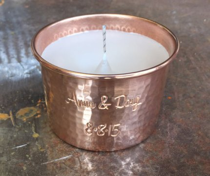 Personalised copper candle - www.etsy.com/shop/SantaClaraCopper