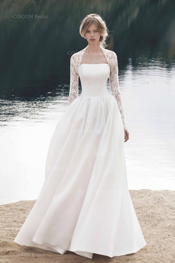 Silk and lace wedding dress for Best etsy wedding dress shops
