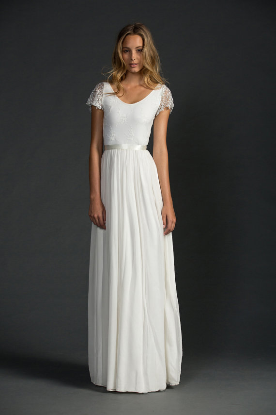 Silk chiffon wedding dress for Etsy dresses for weddings