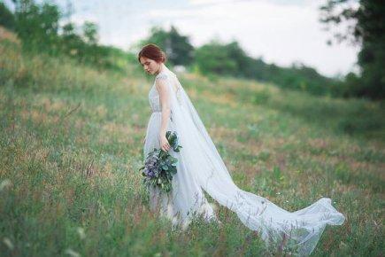 Silk wedding dress with a tulle train - www.etsy.com/shop/CarouselFashion