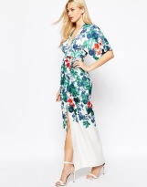 True Violet Kimono Sleeve Maxi Dress In Statement Floral Print, from asos.com