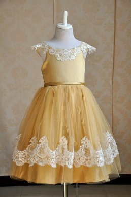 Gold flower girl dress - www.etsy.com/shop/MelsWeddings
