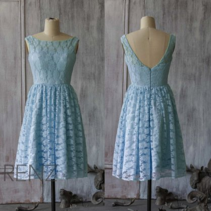 Light blue lace bridesmaid dress - www.etsy.com/shop/RenzRags