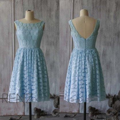 Light blue lace bridesmaid dress - www.etsy.com/shop/RenzRags