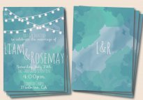 Mint and blue watercolour wedding invitation - www.etsy.com/shop/FoxFeatherCreative