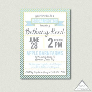 Mint and light blue bridal shower invitation - www.etsy.com/shop/SOSWeddings