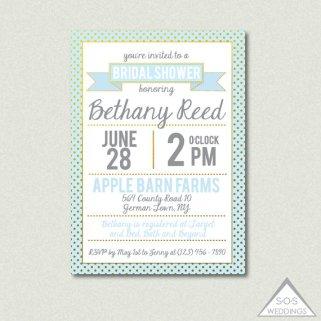 Mint and light blue bridal shower invitation - www.etsy.com/shop/SOSWeddings