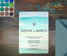 Mint and light blue wedding invitation - www.etsy.com/shop/StarllaDesign