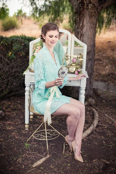Mint lace bridal robe - www.etsy.com/shop/TheLittleWhiteDress