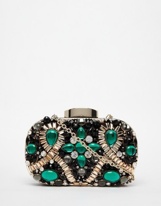 ALDO Box Clutch With Emerald Green Embellishment, from asos.com